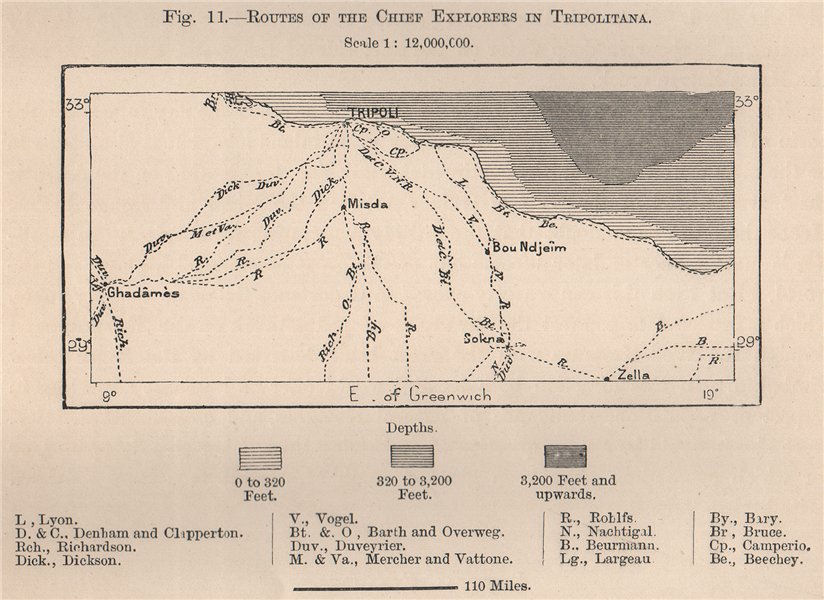 Associate Product Routes of the chief explorers in Tripolitana. Libya 1885 old antique map chart