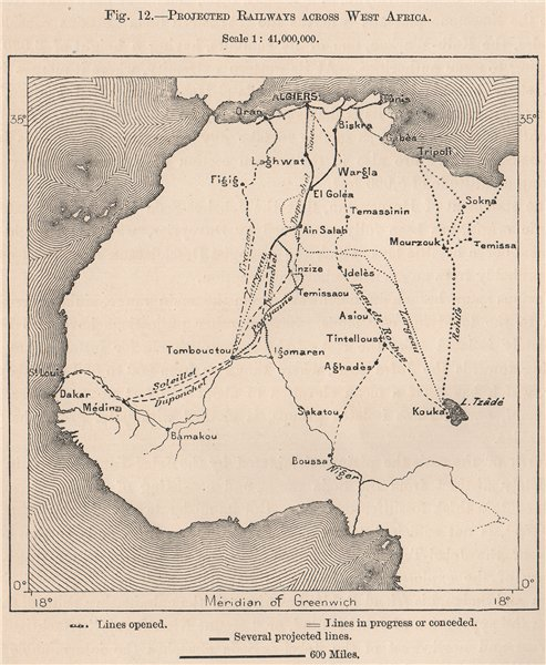 Associate Product Projected Railways across West Africa 1885 old antique vintage map plan chart