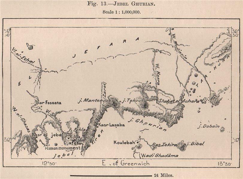 Jebel Ghurian. Libya 1885 old antique vintage map plan chart