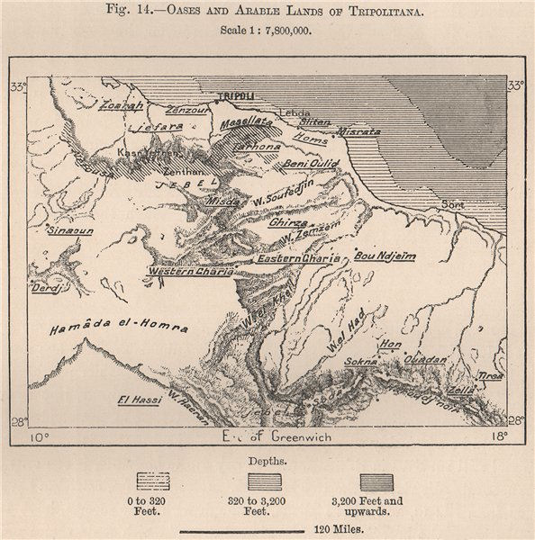 Associate Product Oases & Arable lands of Tripolitana. Libya 1885 old antique map plan chart