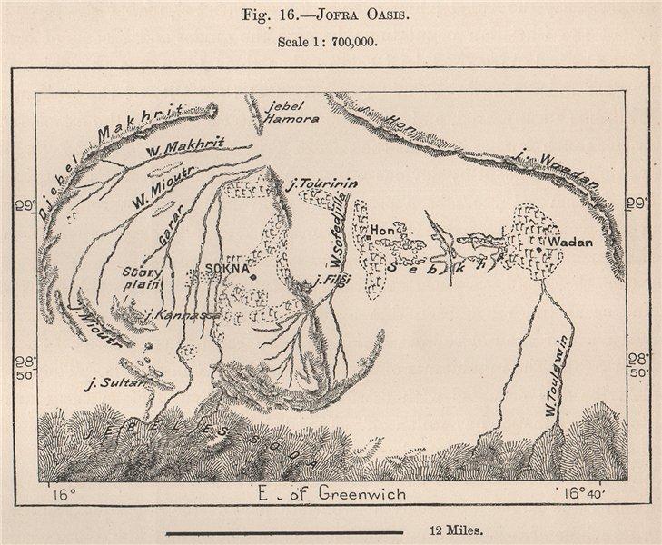 Associate Product Jofra Oasis. Sokna, Libya 1885 old antique vintage map plan chart