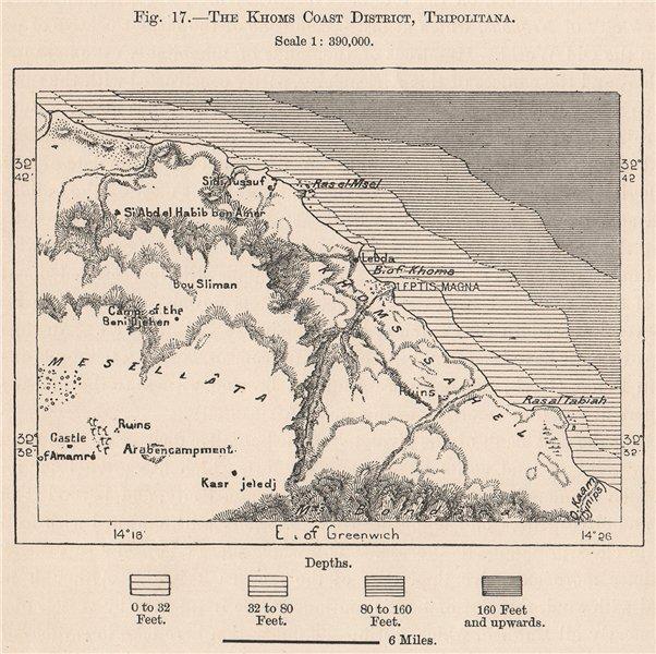 Associate Product The Khoms Coast District, Tripolitana. Libya. Al Khums 1885 old antique map