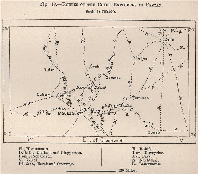 Associate Product Routes of the chief explorers in Fezzan. Libya 1885 old antique map plan chart