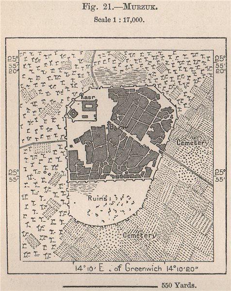 Associate Product Murzuq. Libya. Fezzan 1885 old antique vintage map plan chart