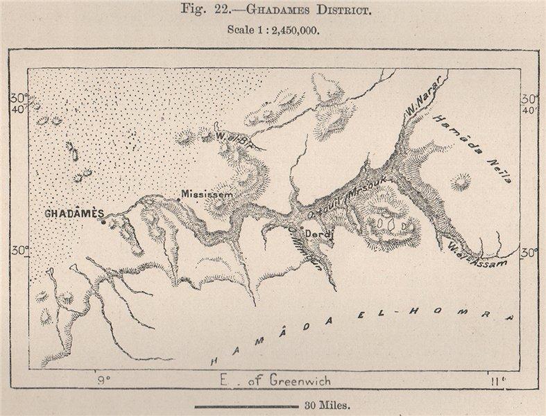 Associate Product Ghadames District. Libya 1885 old antique vintage map plan chart