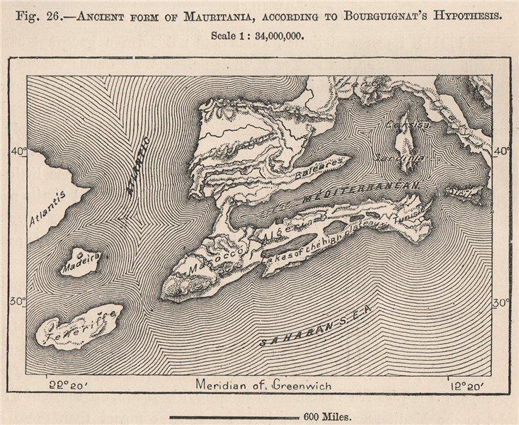 Associate Product Ancient Mauritania, per Bourguignat. Shows Atlantis North Africa 1885 old map