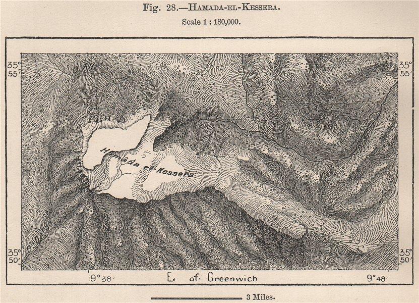 Associate Product Hamada-el-Kessera. Tunisia 1885 old antique vintage map plan chart