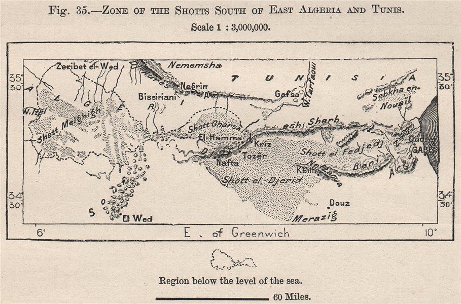 Associate Product Zone of the Shotts/Chotts South of East Algeria/Tunisia. Salt lakes 1885 map