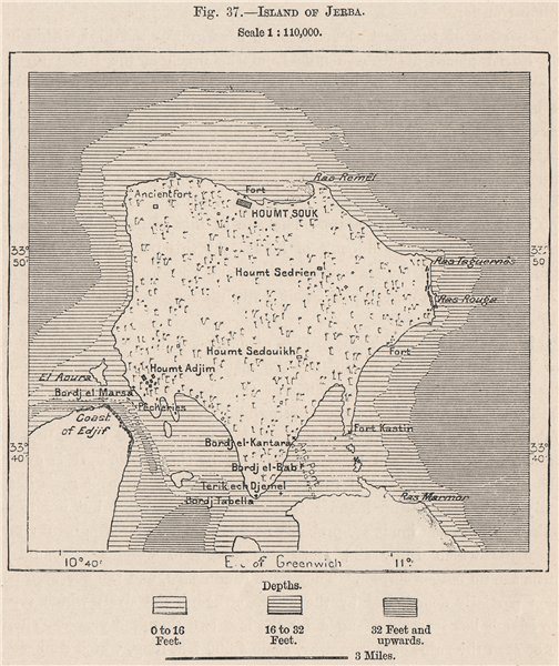 Associate Product Island of Djerba. Tunisia 1885 old antique vintage map plan chart