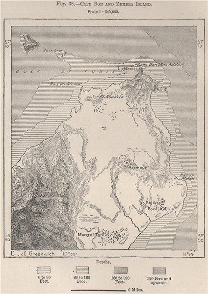 Associate Product Cape Bon (Watan el-kibli) and Zembra Island. Tunisia 1885 old antique map