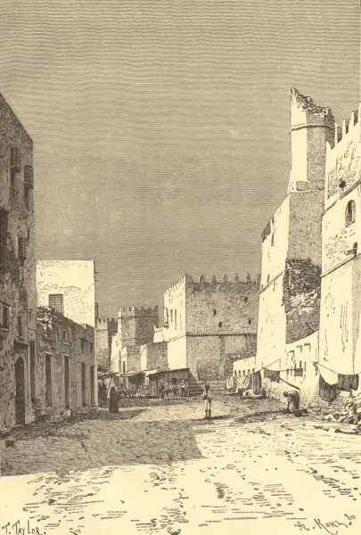 Associate Product Sfax - View taken in the Leonec Street. Tunisia 1885 old antique print picture