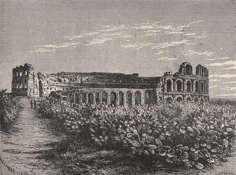 Associate Product Roman amphitheatre of Thysdrus, el-Djem, Tunisia 1885 old antique print