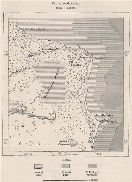 Mahdia (al-Mahdiya) . Sebkha of Moknine. Bekalta. Tunisia 1885 old antique map