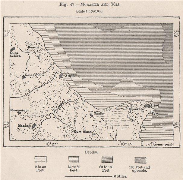 Associate Product Monastir and Sûsa/Sousse (Soussa) . Tunisia 1885 old antique map plan chart