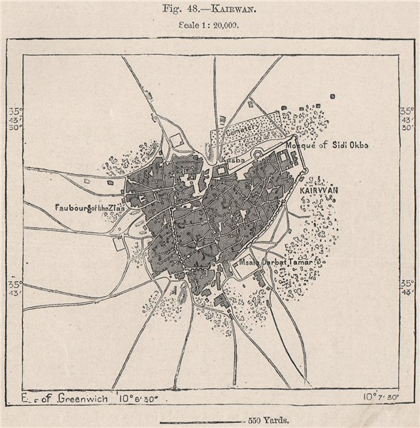 Associate Product Kairouan/Kairouan. Tunisia 1885 old antique vintage map plan chart