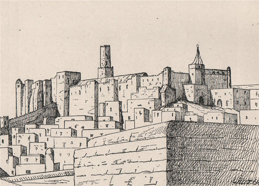 Associate Product Kasbah Sûsa (Sousse (Soussa) ) viewed French consulate. Tunisia 1885 old print