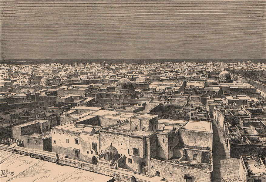 Associate Product General view of Kairouan/Kairouan. Tunisia 1885 old antique print picture
