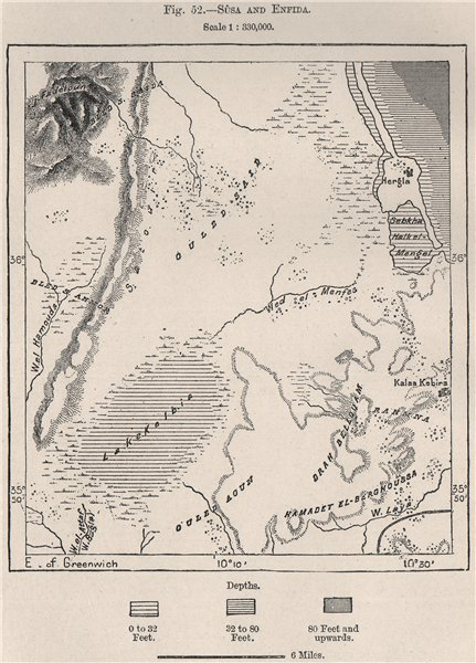 Associate Product Sousse (Soussa) /Sûsa and Enfidha (Dar-el-Bey) . Tunisia 1885 old antique map