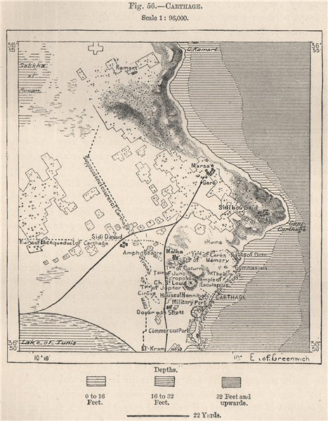 Associate Product Carthage. Tunisia 1885 old antique vintage map plan chart