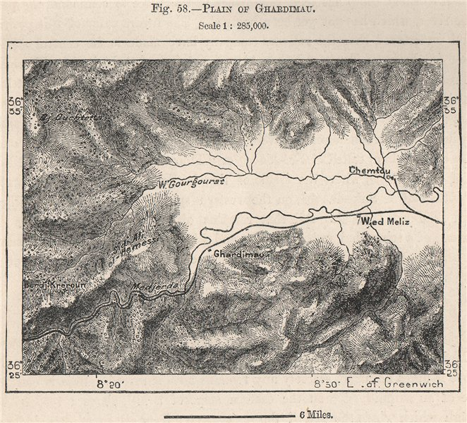 Associate Product Plain of Ghardimaou. Tunisia 1885 old antique vintage map plan chart