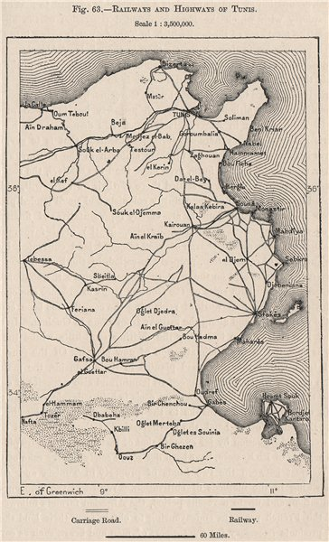 Associate Product Railways and Highways of Tunis. Tunisia 1885 old antique map plan chart