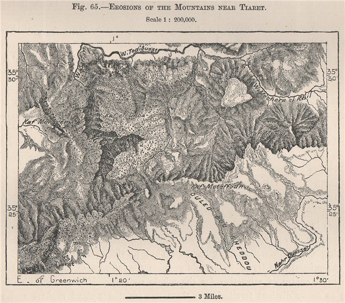 Associate Product Erosions of the mountains near Tiaret. Algeria 1885 old antique map plan chart