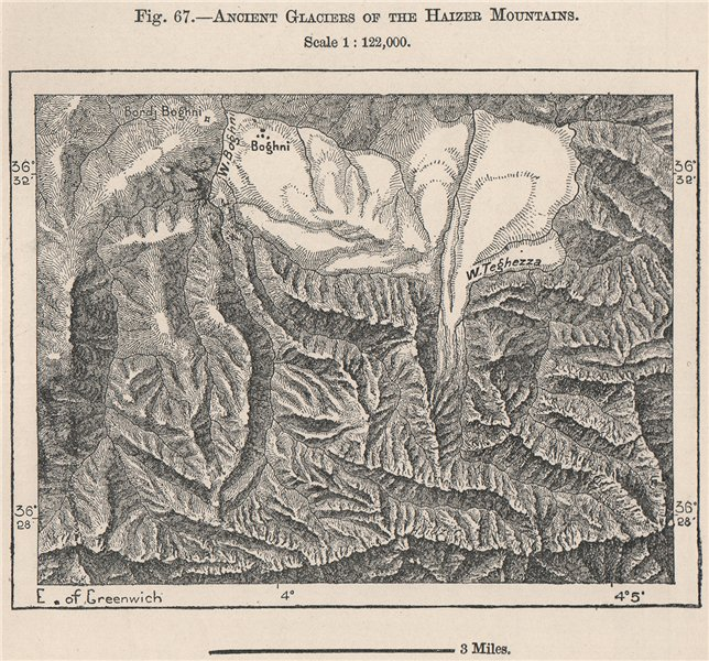 Associate Product Haizer Mountains, Djurdjura National Park. Algeria 1885 old antique map chart