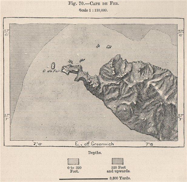 Associate Product Cape de Fer (Ras el-Hadid) El Marsa, Skikda, Algeria 1885 old antique map