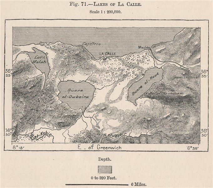 Associate Product El Kala Lakes Mellah Oubeira Tonga. La Calle. Algeria 1885 old antique map