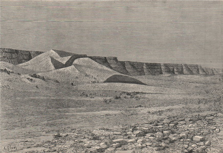 Associate Product Cliffs of the Igharghar - view from the North of Temassinin. Algeria 1885