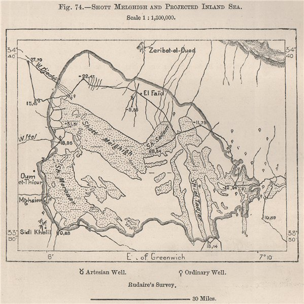 Associate Product Chott Melrhir/Melghir/Melhir & Felrhir and projected Inland Sea.Algeria 1885 map