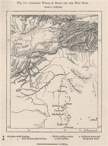 Associate Product Artesian Wells of Ziban and the Oued el Righ. Algeria 1885 old antique map