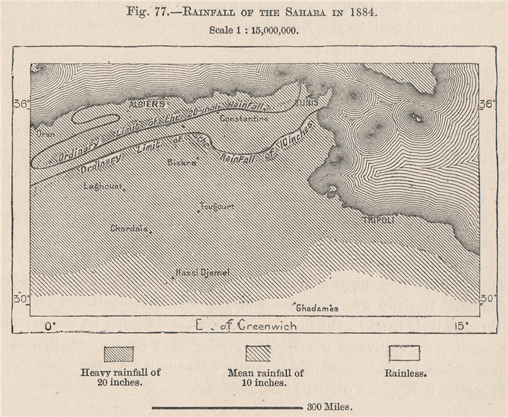 Associate Product Rainfall of the Sahara in 1884. Algeria 1885 old antique map plan chart