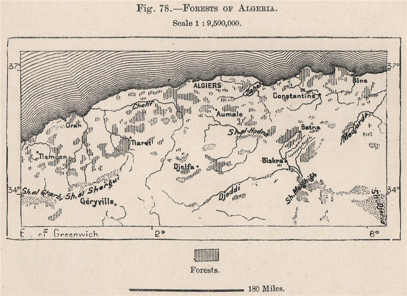 Associate Product Forests of Algeria 1885 old antique vintage map plan chart