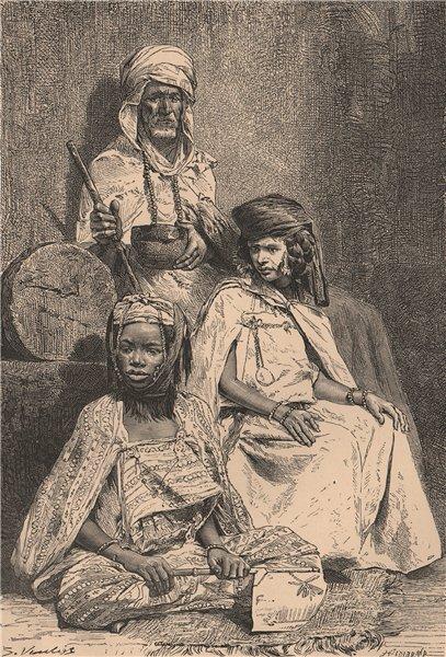 Associate Product Arab Mendicant, Biskra Negress and El-Kantara woman. Algeria 1885 old print