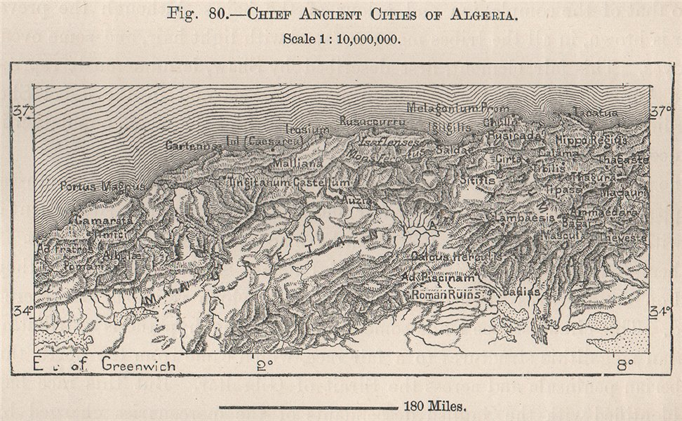 Associate Product Chief Ancient Cities of Algeria 1885 old antique vintage map plan chart