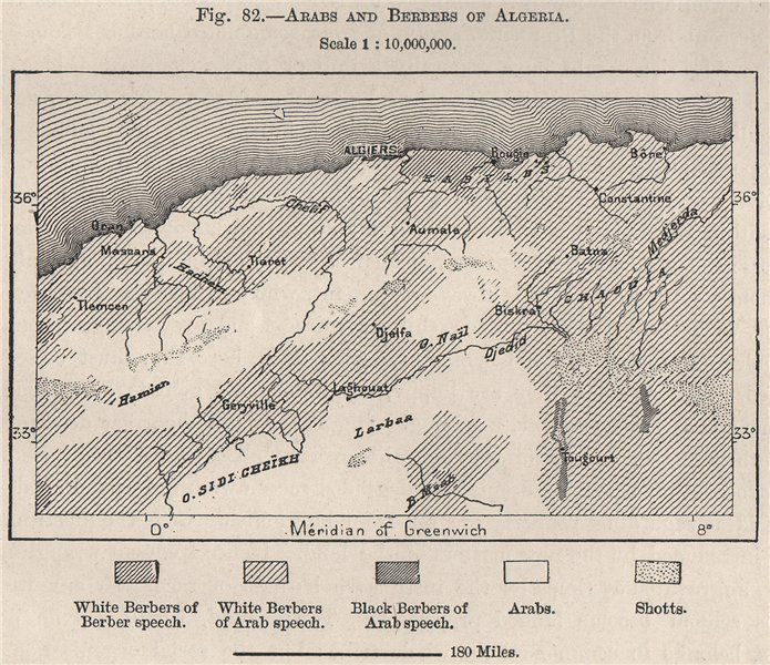 Associate Product Arabs and Berbers of Algeria 1885 old antique vintage map plan chart