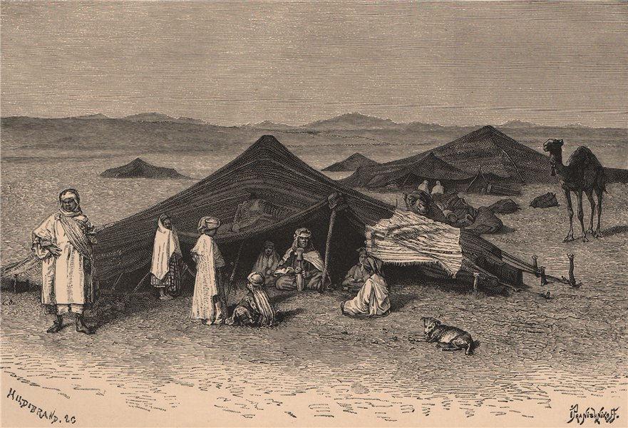 Associate Product Saharan landscape. Nomad encampment. Algeria 1885 old antique print picture