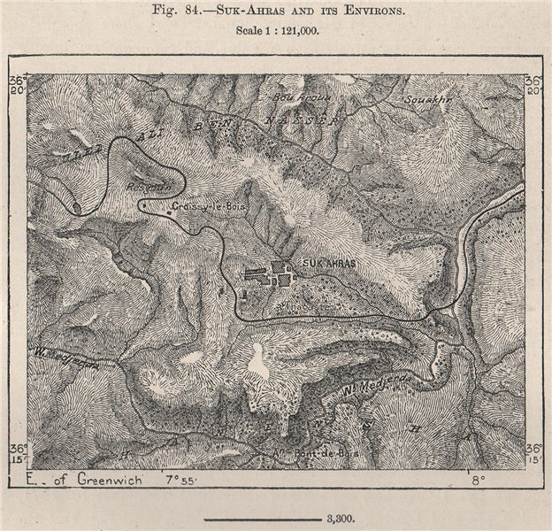 Associate Product Souk Ahras and its environs. Algeria 1885 old antique vintage map plan chart
