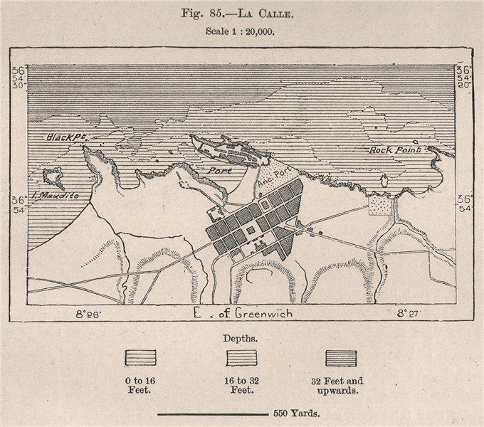 Associate Product La Calle (El Kala) . Algeria 1885 old antique vintage map plan chart
