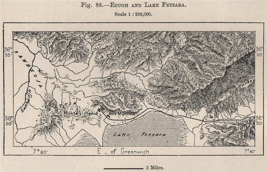 Associate Product Edough and Lake/Lac Fetzara. Berrahal. Algeria 1885 old antique map plan chart
