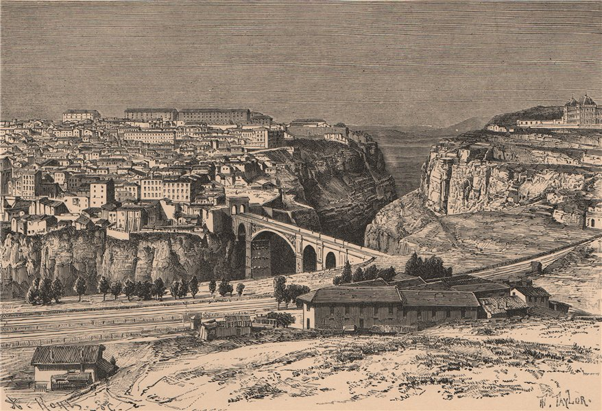 Associate Product View of Constantine/Qasentina from the Mansura route. Algeria 1885 old print