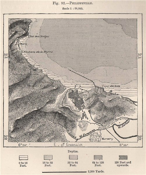 Associate Product Skikda (Skikda) . Algeria 1885 old antique vintage map plan chart