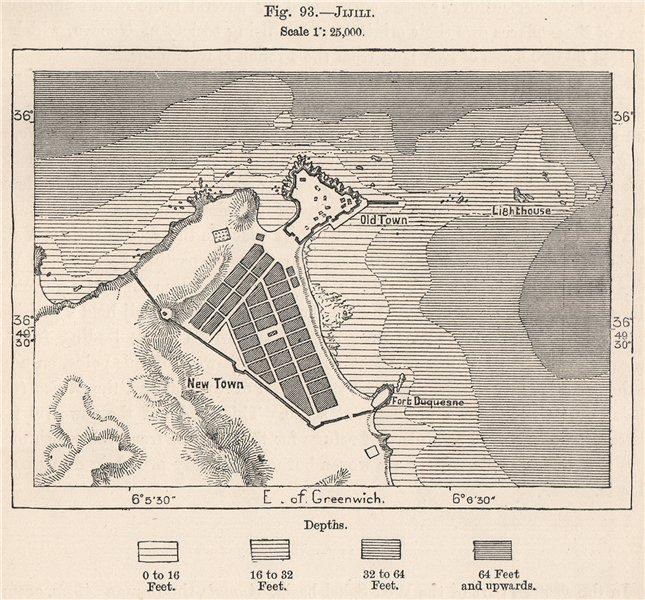 Jijili (Jijel) . Algeria 1885 old antique vintage map plan chart