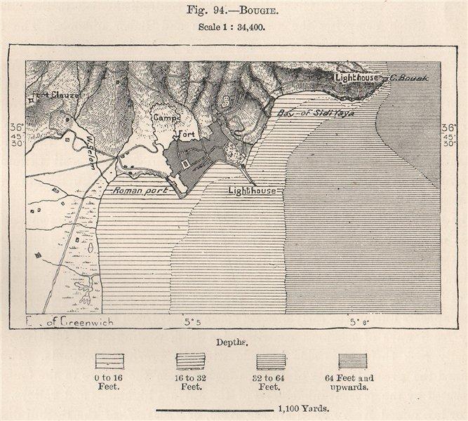 Associate Product Béjaïa. Béjaïa Bejaia. Algeria 1885 old antique vintage map plan chart