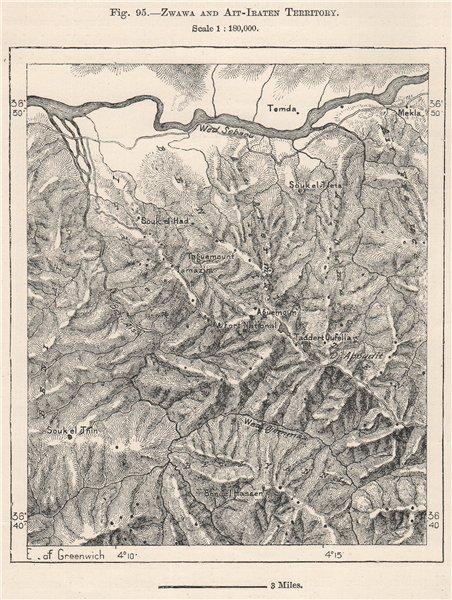 Associate Product Zwawa/Zouaoua & Ait/Aït Iraten Territory. Kabylia, Algeria 1885 old map