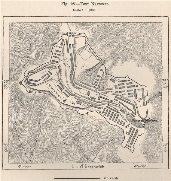 Associate Product Fort National (Larbaa Nath Irathen) . Algeria 1885 old antique map plan chart