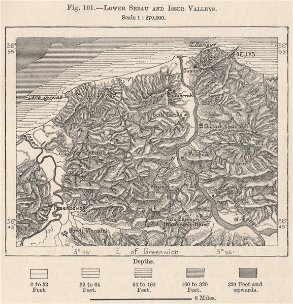 Associate Product Lower Asif N Sebaw & Oued Isser river Valleys. Dellys. Algeria 1885 old map