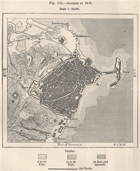 Algiers in 1830. Algeria 1885 old antique vintage map plan chart