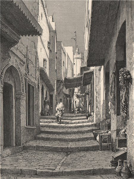Associate Product Street view in the Old Town, Algiers. Algeria 1885 antique print picture